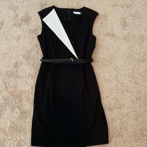 Black and white sleeveless dress with belt